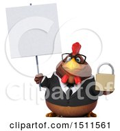 Clipart Of A 3d Chubby Brown Business Chicken Holding A Padlock On A White Background Royalty Free Illustration