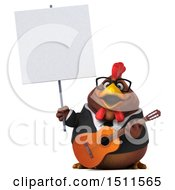 3d Chubby Brown Business Chicken Holding A Guitar On A White Background