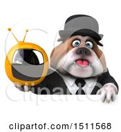 Clipart Of A 3d Gentleman Or Business Bulldog Holding A Tv On A White Background Royalty Free Illustration