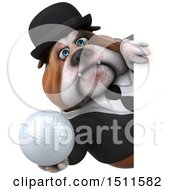 Clipart Of A 3d Gentleman Or Business Bulldog Holding A Golf Ball On A White Background Royalty Free Illustration