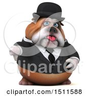 Clipart Of A 3d Gentleman Or Business Bulldog Holding A Thumb Down On A White Background Royalty Free Illustration