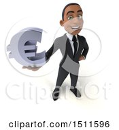 3d Young Black Business Man Holding A Euro On A White Background