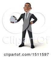 3d Young Black Business Man Holding A Cloud On A White Background