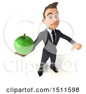 3d White Business Man Holding An Apple On A White Background