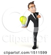 3d White Business Man Holding A Light Bulb On A White Background