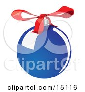 Round And Shiny Blue Tree Bauble Ornament With A Red Bow Clipart Illustration