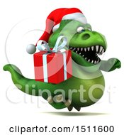 Clipart Of A 3d Green Christmas T Rex Dinosaur Holding A Gift On A White Background Royalty Free Illustration