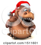 Clipart Of A 3d Brown Christmas T Rex Dinosaur On A White Background Royalty Free Illustration by Julos