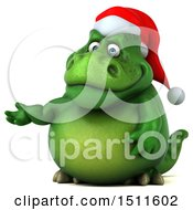 Clipart Of A 3d Green Christmas T Rex Dinosaur Presenting On A White Background Royalty Free Illustration by Julos