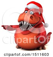 Clipart Of A 3d Red T Rex Christmas Dinosaur On A White Background Royalty Free Illustration by Julos