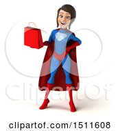 Clipart Of A 3d Young Brunette White Female Super Hero In A Blue And Red Suit Holding A Shopping Bag On A White Background Royalty Free Illustration