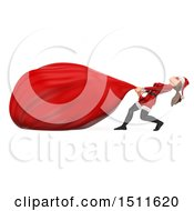 3d Christmas Woman In A Santa Suit Pulling A Giant Sack On A White Background
