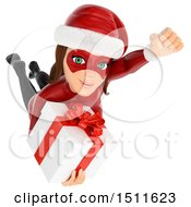 3d Christmas Woman In A Santa Suit Flying With A Gift On A White Background