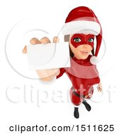 3d Christmas Woman In A Santa Suit Holding Up A Card On A White Background