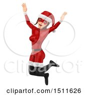 Illustration Of A 3d Jumping Christmas Woman In A Santa Suit On A White Background Royalty Free Graphic