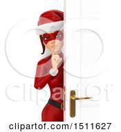 Illustration Of A 3d Sneaky Christmas Woman In A Santa Suit On A White Background Royalty Free Graphic