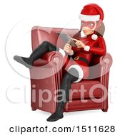 Illustration Of A 3d Christmas Woman In A Santa Suit Sitting In A Chair And Using A Tablet Computer On A White Background Royalty Free Graphic