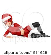 Illustration Of A 3d Christmas Woman In A Santa Suit Resting On The Ground On A White Background Royalty Free Graphic