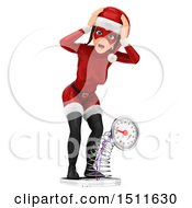 Illustration Of A 3d Christmas Woman In A Santa Suit Breaking A Scale On A White Background Royalty Free Graphic