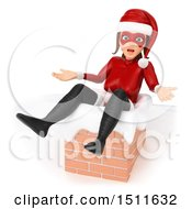 Illustration Of A 3d Christmas Woman In A Santa Suit Stuck In A Chimney On A White Background Royalty Free Graphic