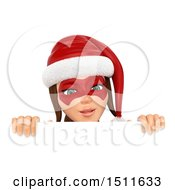 Illustration Of A 3d Christmas Woman In A Santa Suit Looking Over A Sign On A White Background Royalty Free Graphic