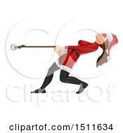 Illustration Of A 3d Christmas Woman In A Santa Suit Pulling On A Rope On A White Background Royalty Free Graphic