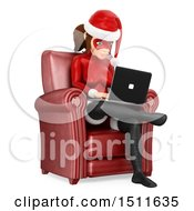 3d Christmas Woman In A Santa Suit Sitting In A Chair And Using A Laptop Computer On A White Background