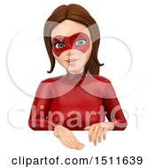 3d Female Super Hero Over A Sign On A White Background