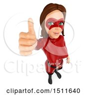 3d Female Super Hero Giving A Thumb Up On A White Background
