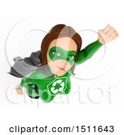 3d Flying Recycle Super Woman On A White Background