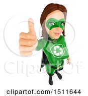 3d Recycle Super Woman Giving A Thumb Up On A White Background