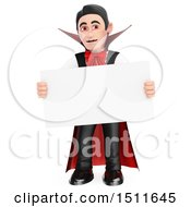 Illustration Of A 3d Dracula Vampire Holding A Blank Sign On A White Background Royalty Free Graphic by Texelart