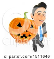3d Business Man Holding Up A Halloween Pumpkin On A White Background