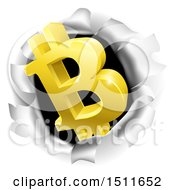 Poster, Art Print Of 3d Gold Bitcoin Currency Symbol Breaking Through A Hole In A Wall