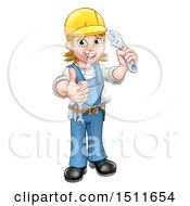 Poster, Art Print Of Full Length Happy White Female Mechanic Wearing A Hard Hat Holding Up A Wrench And Giving A Thumb Up
