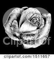 Clipart Of A Black And White Engraved Rose Flower On Black Royalty Free Vector Illustration by AtStockIllustration