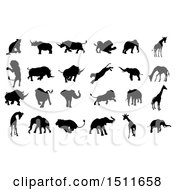 Clipart Of Silhoutted Elephants Rhinoceroses Lions And Giraffes Royalty Free Vector Illustration
