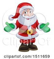 Christmas Santa Wearing Green Mittens
