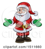 Cartoon Christmas Santa Claus Wearing Green Mittens