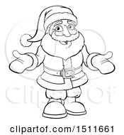 Black And White Christmas Santa Claus Wearing Mittens