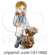 Clipart Of A White Female Veterinarian Giving A Thumb Up Over A Cat And Dog Royalty Free Vector Illustration