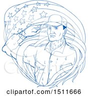 Poster, Art Print Of Blue Sketched Soldier Saluting Under An American Flag