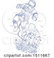 Clipart Of A Blue Sketched Astronaut Tethered To A Ship Royalty Free Vector Illustration by patrimonio