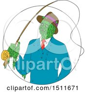 Clipart Of A Sketched Mobster Fisherman Zombie Royalty Free Vector Illustration