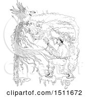 Poster, Art Print Of Sketched Hunter Shooting A Ring Necked Pheasant