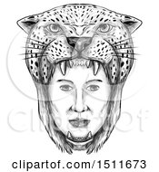 Sketched Amazon Warrior Face With A Jaguar Headdress On A White Background