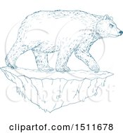 Clipart Of A Blue Sketched Polar Bear On An Iceberg Royalty Free Vector Illustration by patrimonio