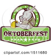 Clipart Of A Military Donkey Holding A Beer Mug In An Oktoberfest Design Royalty Free Vector Illustration by patrimonio