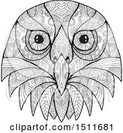 Clipart Of A Black And White Australian Barking Owl Face Royalty Free Vector Illustration