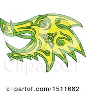 Clipart Of A Green And Yellow Celtic Knot Styled Boar Head In Profile Royalty Free Vector Illustration by patrimonio